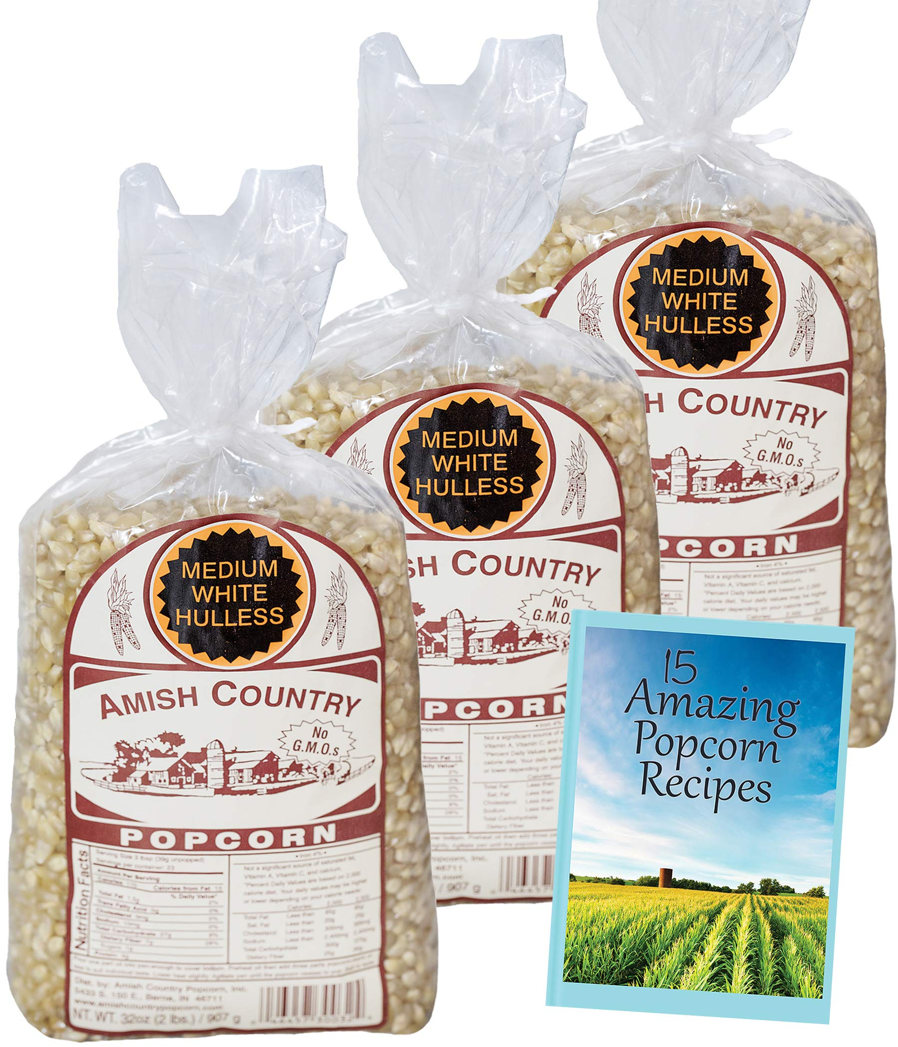 Amish Country Popcorn - 3 (2 Pound Bags) Medium White Popcorn Gift Set Old Fashioned, Non GMO and Gluten Free - With Recipe Guide by Amish Country Popcorn (Image #2)