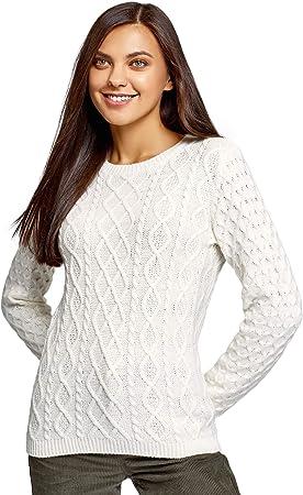 oodji Ultra Mujer Jersey de Punto Texturizado con Trenzas
