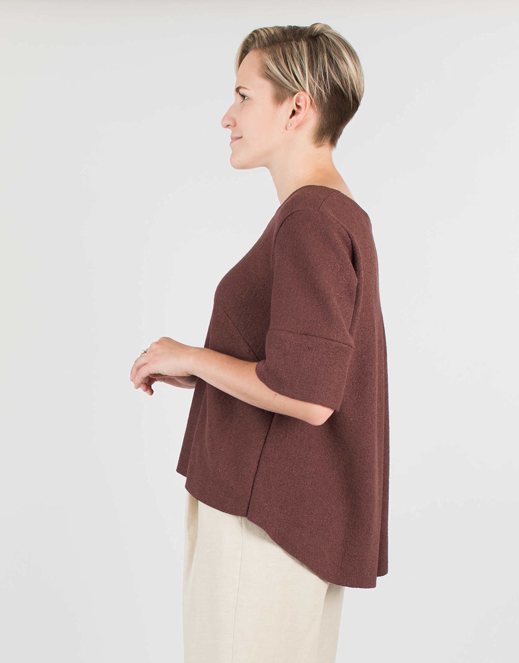 Women's Short Sleeve Chocolate Brown Wool Sweater