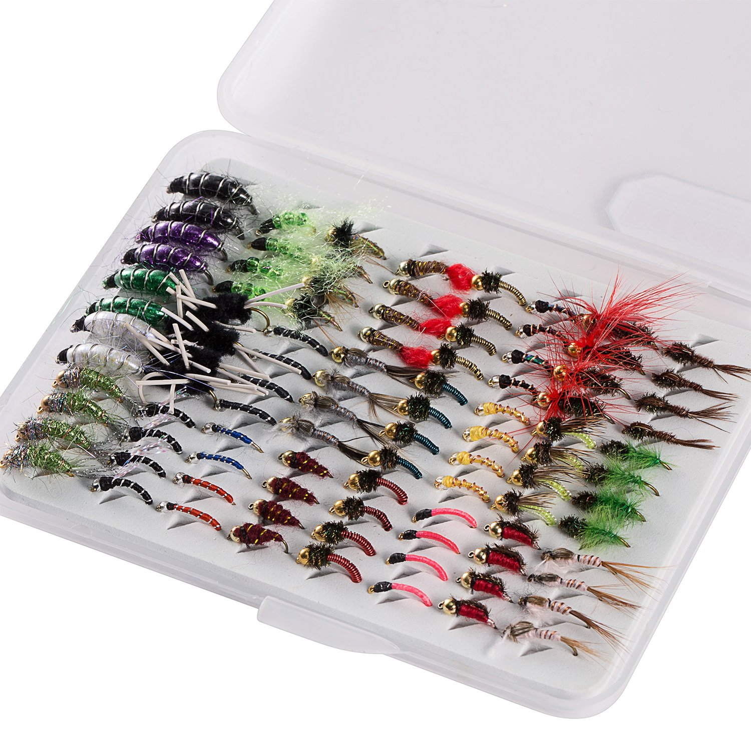 Bassdash Fly Fishing Nymph Flies Kit, Pack of 96 pcs Fly Lure, with Ultrathin Fly Box by Bassdash