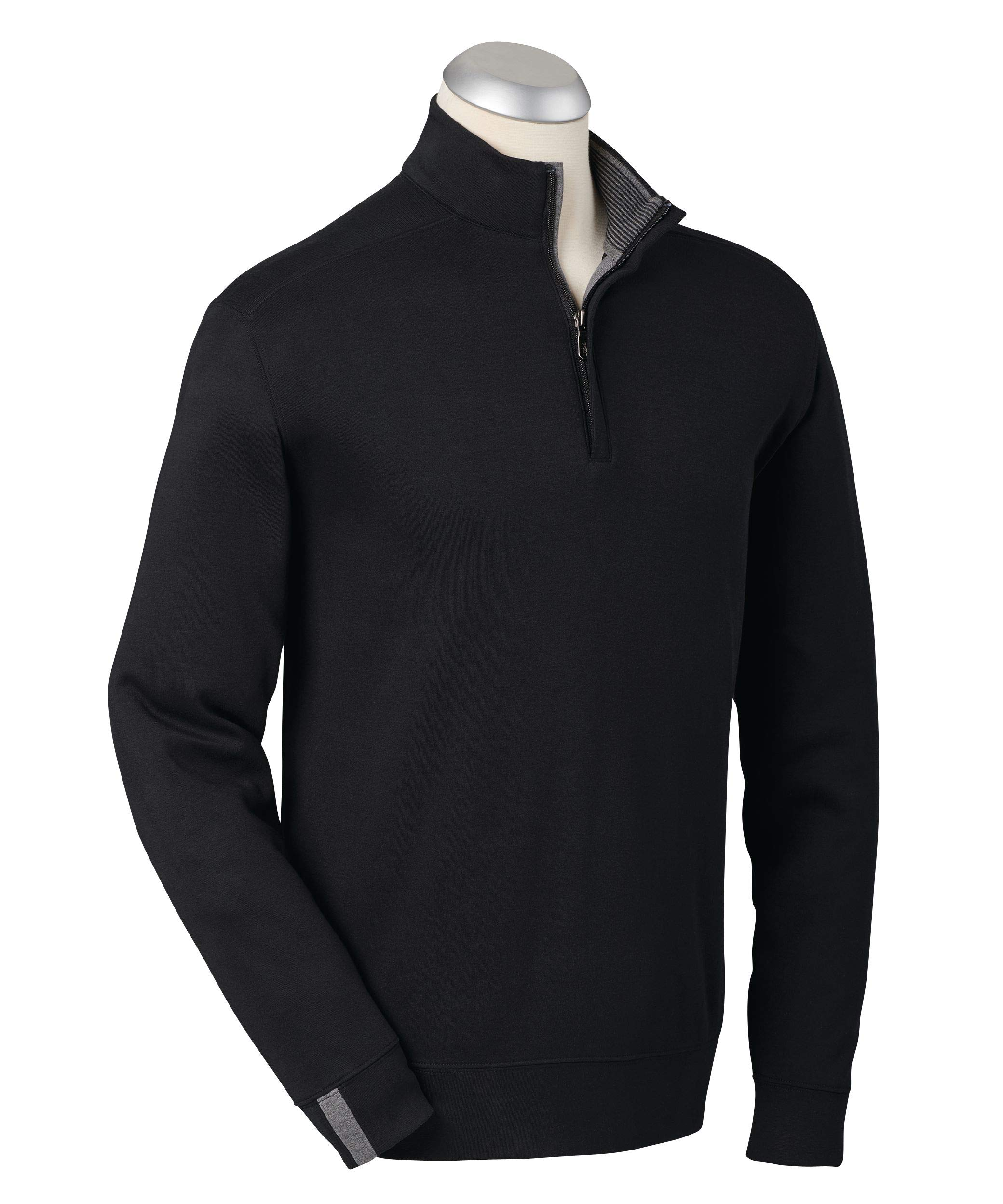 Bobby Jones Lux Pima Leaderboard Golf Pullover - Men's 1/4 Zip Pullover Golf Apparel Black by Bobby Jones