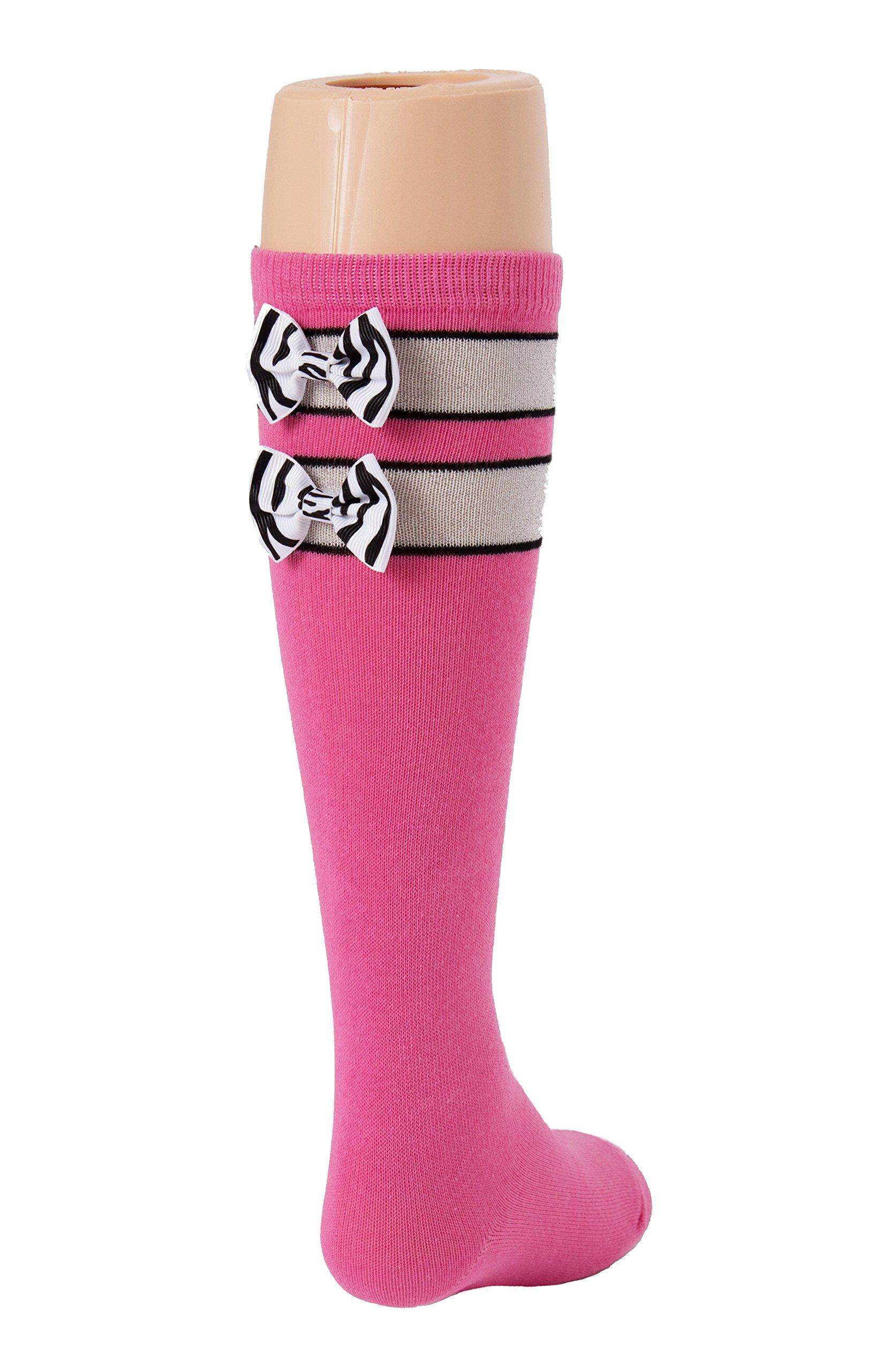 Pink Tot Jocks Girls Sports Socks Pink, Black and Silver with Zebra Print Bow Kids Size 9-2.5, Soccer, Volleyball, Softball, Field Hockey