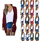 Cardigan for Women Open Front Long Sleeve Casual Fall Lightweight Cardigans with Pockets