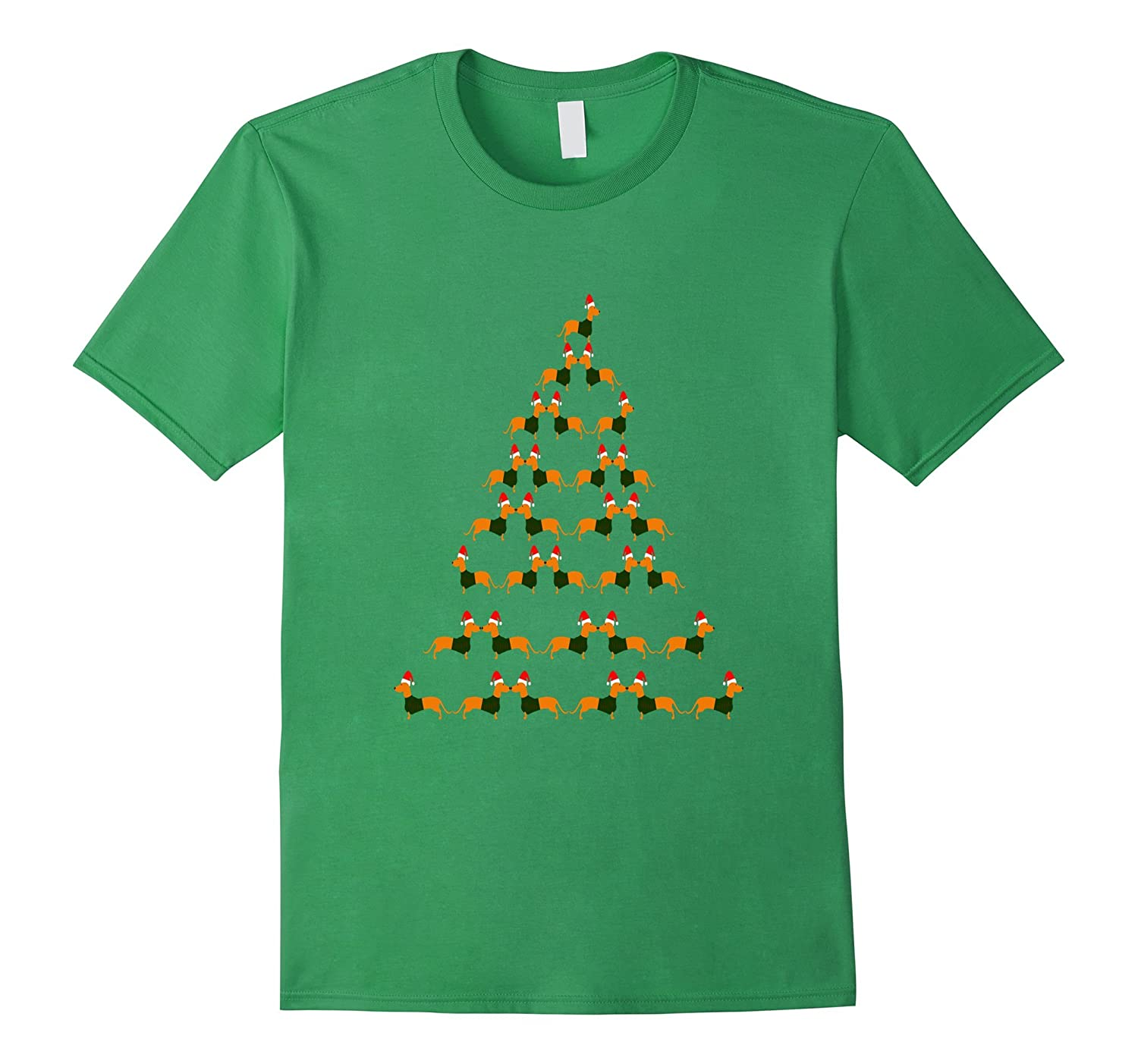 Bloodhound Dog Christmas Tree Funny Holiday T-shirt-CL