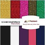 MiPremium PU Heat Transfer Vinyl, HTV Iron On Vinyl Starter Pack, Combo BUNDLE Kit Of Heat Press Vinyl in 10 Most Popular of Glitter & Plain Colors, Easy Cut, Weed & Press (10 x Combo Pack)
