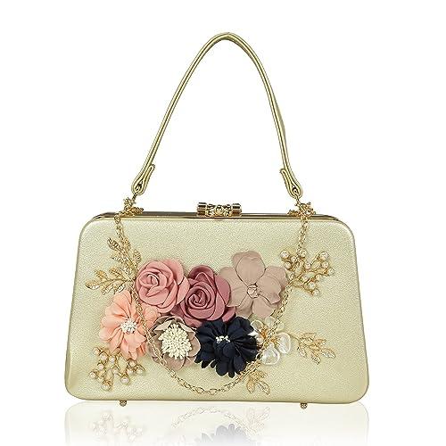 Kleio Women s PU Flower Embellished Box Shaped Clutch (Gold)  Amazon ...