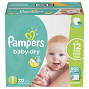 Pampers Baby-Dry Disposable Diapers Size 1, 222 Count, ONE Month Supply