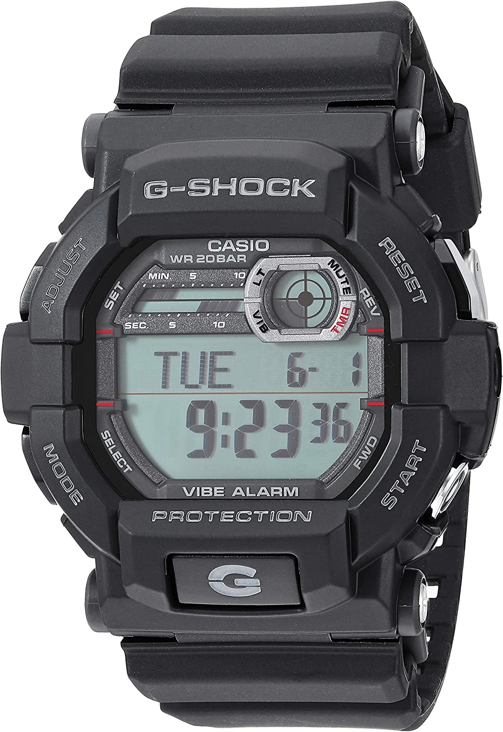 Casio GSHOCK Stainless Steel Quartz Watch with Resin Strap, Black, 21.4 Model GD350-1CR