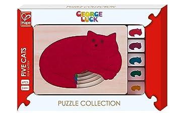 Hape - e6514 George Luck - Puzzle (Cinco Gatos en un - 6 Piezas: Amazon.es: Juguetes y juegos