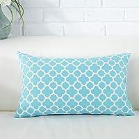 TAOSON Aqua Blue Moroccan Quatrefoil Accent Pattern Cushion Cover Pillow Cover Pillowcase Cotton Canvas Pillow Sofa…