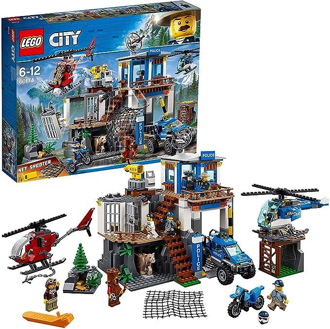 LEGO City Police - Montaña: Comisaria Policía, Set de Construcción de Juguete de Policía con Helicópteros, Coche y Moto de Policía y Minifiguras ...