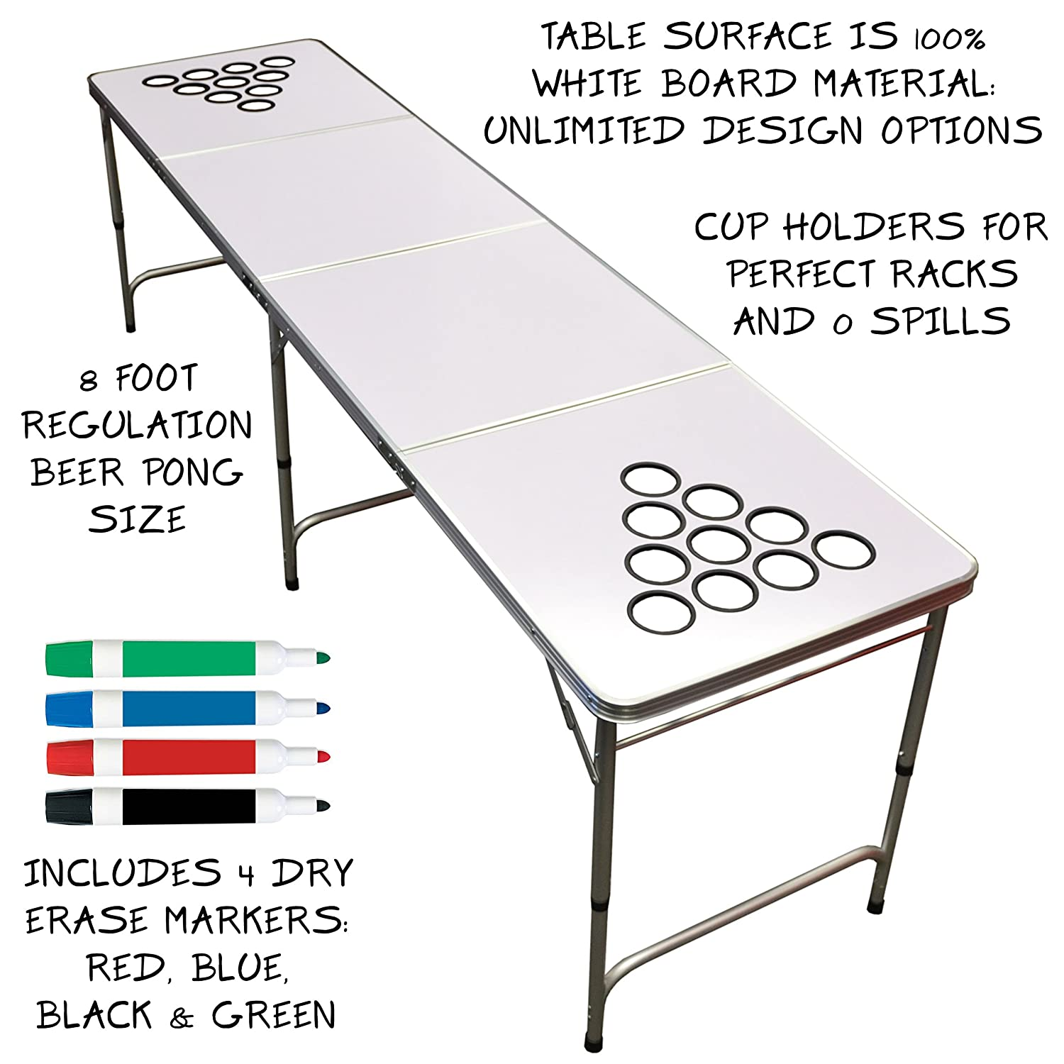 Beer pong table dimensions - Amazon Com Custom Dry Erase Beer Pong Table 2x8 8ft Tailgate Table Aluminum All Weather Lightweight Portable Sports Outdoors