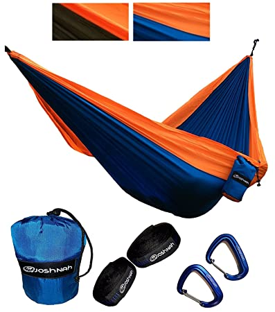 JoshNAh Lightweight Double Camping Hammock Set with Heavy Duty Tree Straps and Carabiners for Backpacking , Camping , Travel , Beach , Yard