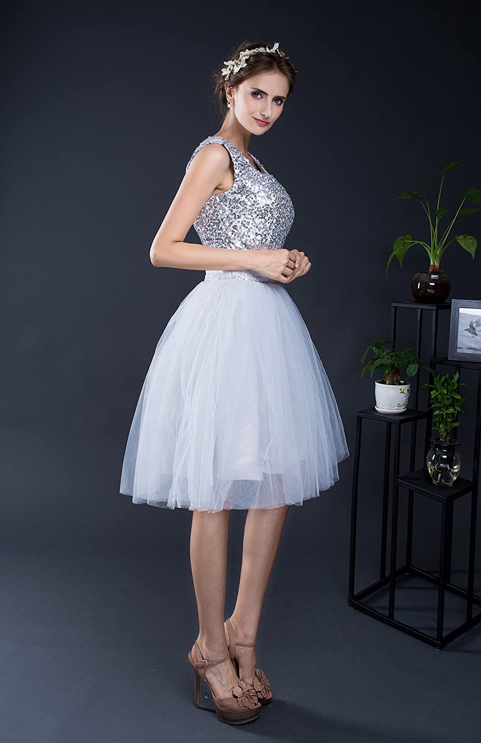 KekeHouse?Bridesmaid Wedding Short with Straps Dress Party Dress Sequin for Women Party Dress Evening Cocktail A-Line Prom Dance Dress Lace Up Back