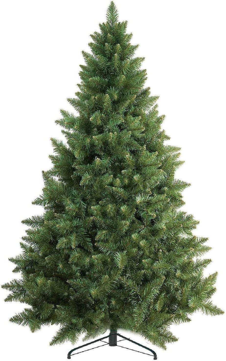 Prextex 6 Feet Premium Artificial Spruce Hinged Christmas Tree Lightweight/Easy to Assemble with Christmas Tree Metal Stand 1200 Tips