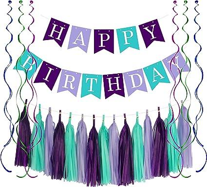 Amazon.com: Carteles de cumpleaños con diseño de sirena y ...