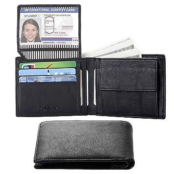 3c92c3b143a8 Zonlicat Leather Wallet, Slim Men's Wallet RFID Blocking Bi-fold Minimalist  Wallet with Credit