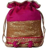 Dupion Silk Embellished Pink Potli Bag