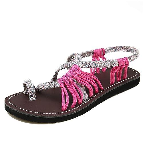 fb0728580faa35 MEGNYA Women s Retro Sandals Bohemia Braided Strap Flat for Summer  ZD001-W6-5 Rose