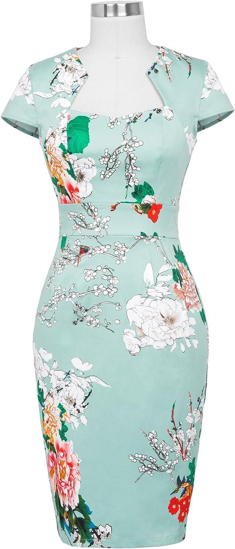 Belle Poque Retro Dress Damen Vintage blumencocktailkleid mit fl/ügel/ärmeln Retro-Bleistift-Kleid cl7597