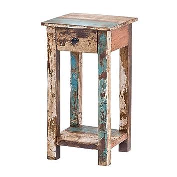 MÖBEL IDEAL Beistelltisch Vintage Holz Bunt 40 X 40 Cm Kommode Im Vintage  Look Telefontisch Im