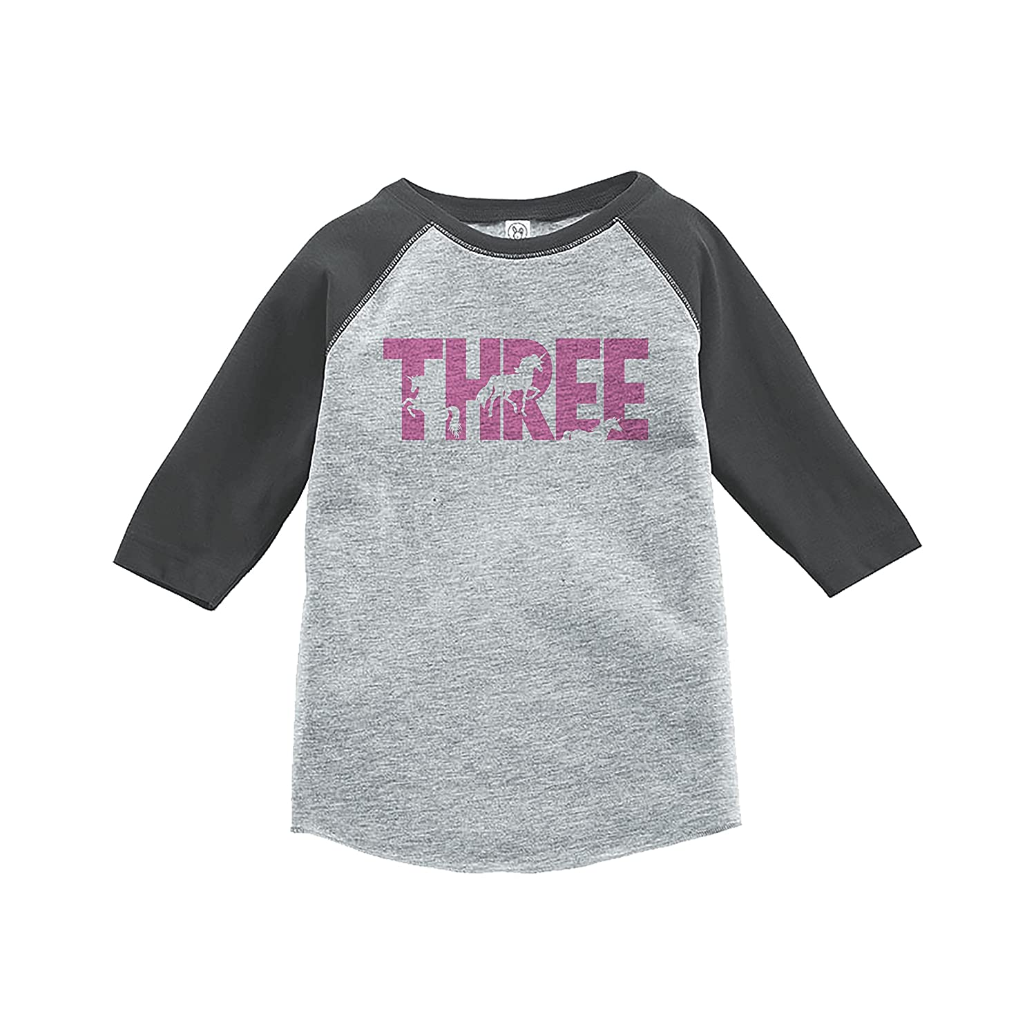 7 ate 9 Apparel Kids Third Birthday Unicorn Raglan Tee Grey
