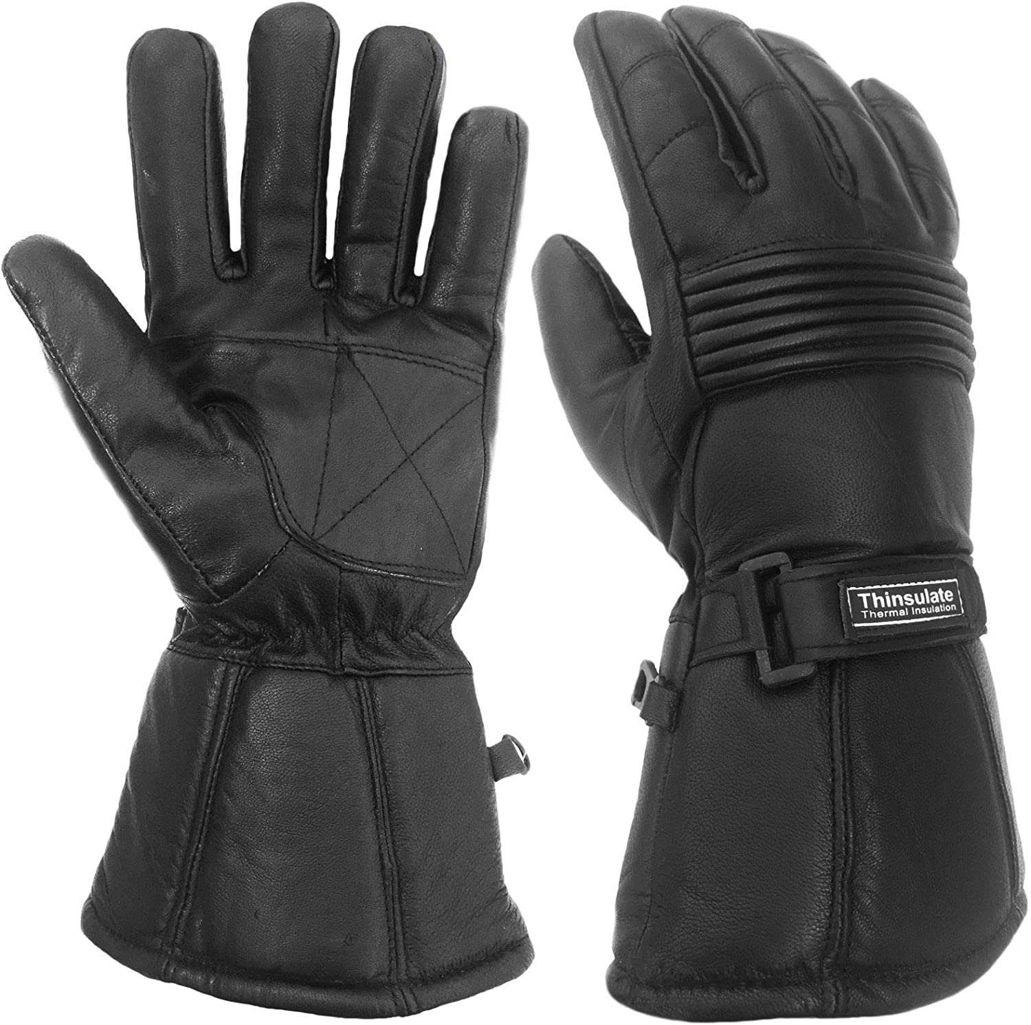 WFX Mens Winter Motorcycle Gloves Sheep Leather Waterproof with Hipora Thinsulate Thermal Windproof Medium