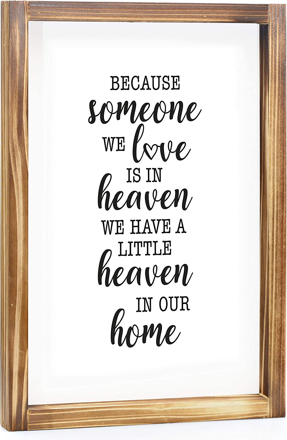 A Little Heaven In Our Home Sign - Rustic Farmhouse Decor For The Home Sign - Wall Decorations For Living Room, Modern Farmhouse Wall Decor, Rustic Home Decor With Solid Wood Frame - 11x16 Inch