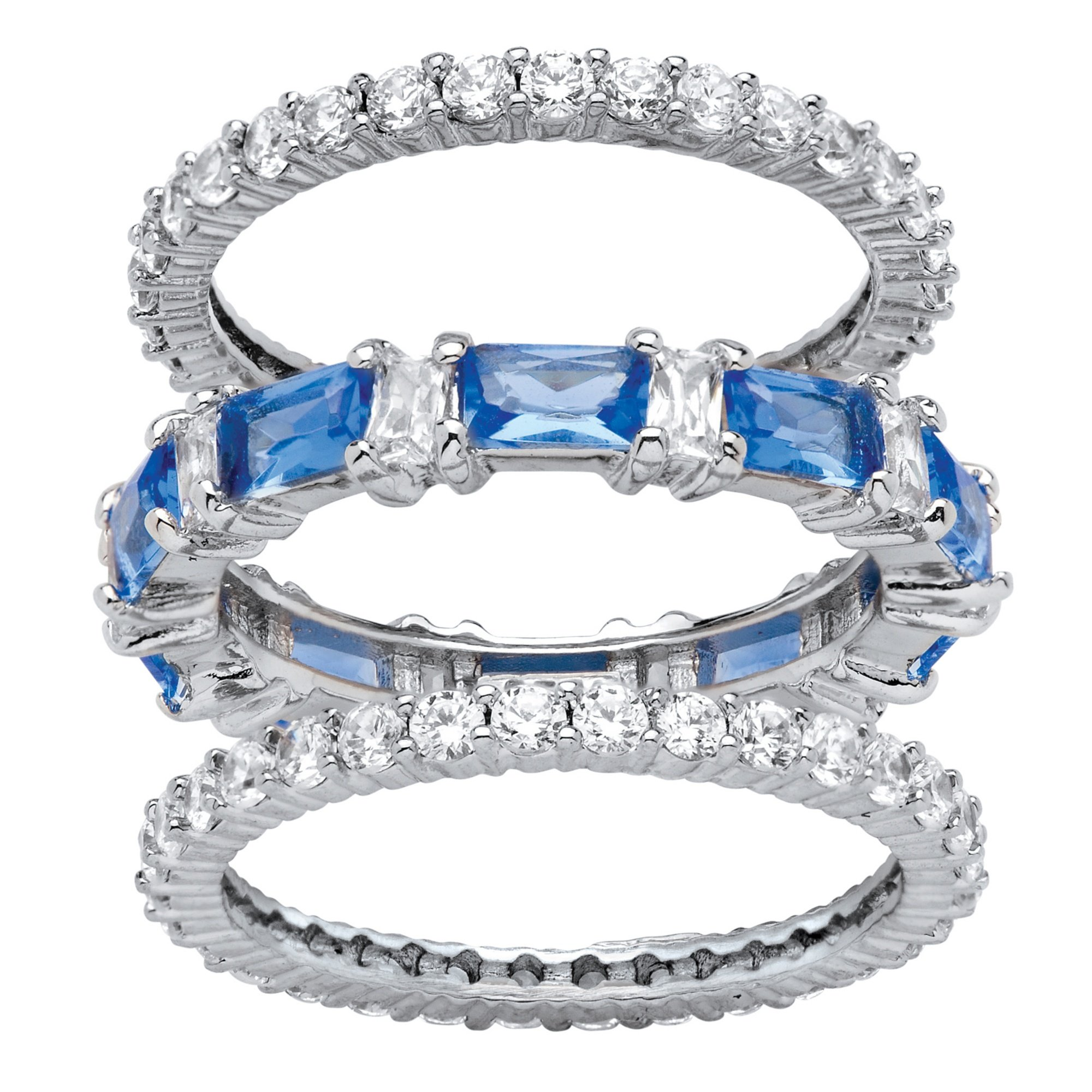 Palm Beach Jewelry Platinum Plated Emerald Cut Simulated Blue Sapphire and Baguette Cubic Zirconia Stackable 3 Piece Set Eternity Ring Size 8 by Palm Beach Jewelry
