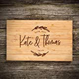 """P Lab Personalized Cutting Board, Custom Engraved Natural Wood Cutting Board, Christmas Gift, Wedding Gift, Anniversary Gift, Housewarming Gift, Corporate Gift (6"""" x 9 1/2"""") Small Sol. Rectangular #G"""