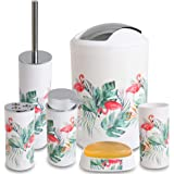 Smile Mom Bathroom Accessories Set (6 Piece) with Trash Can/Bin, Toothbrush Holder, Toilet Cleaner Brush, Liquid Bottle Dispenser, Soap Dish and Tumbler (Flamingo)