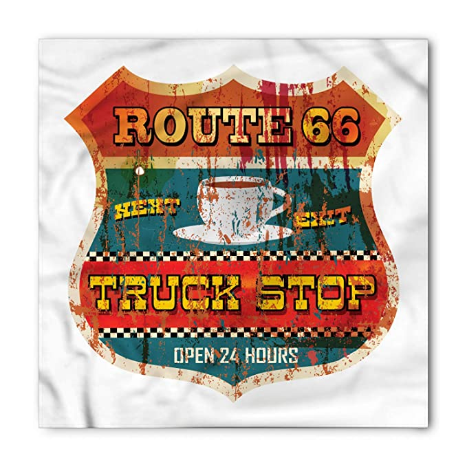 Amazon.com: Lunarable Route 66 Bandana, cartel de parada de ...