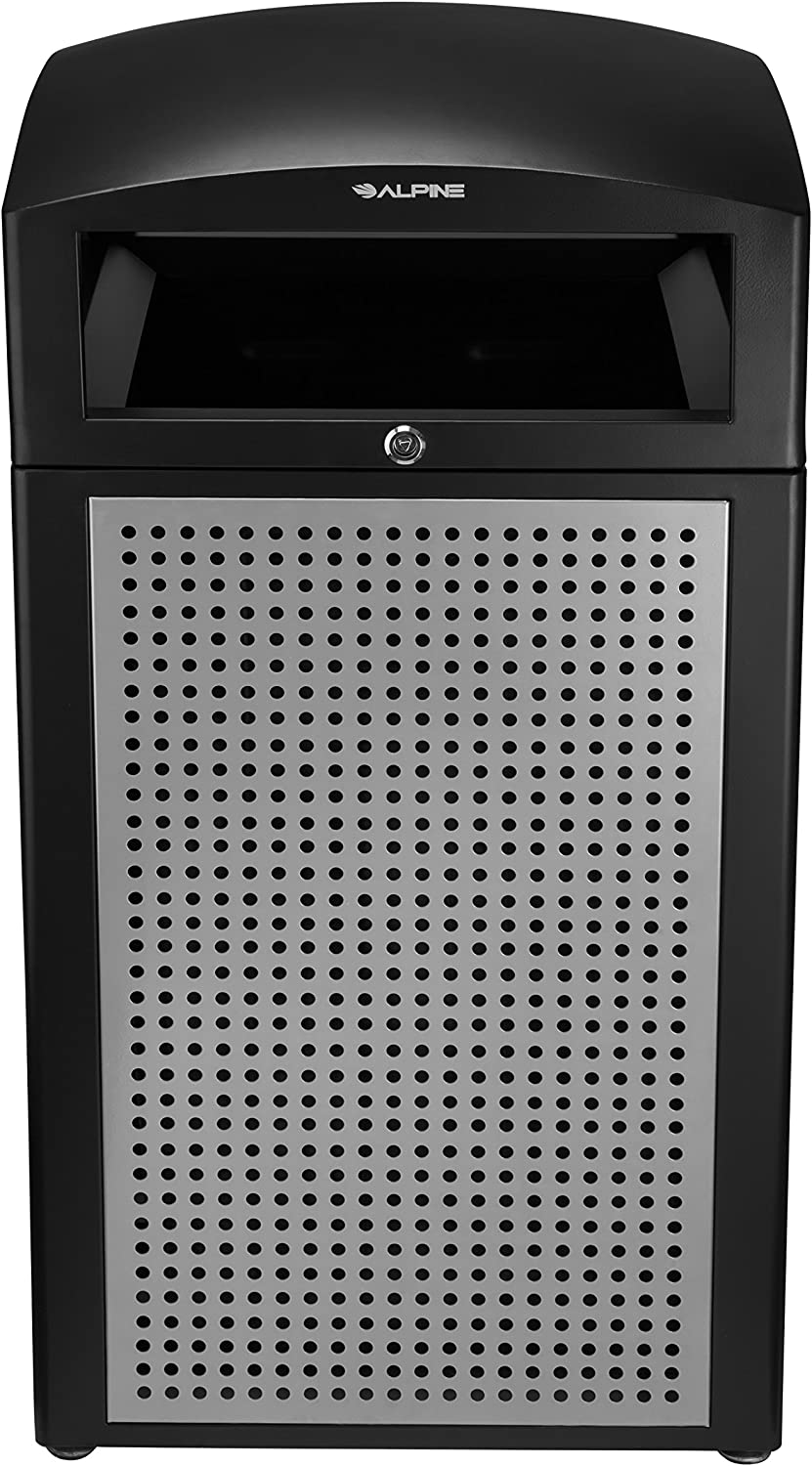 Alpine Industries Rugged 40-Gallon All-Weather Outdoor Recycle Bin Trash Can Container (Without Ash Tray, Steel Panels)