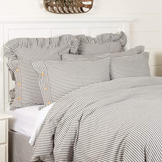 Amazon.com: Farmhouse Ticking Gray Stripe King Duvet Cover, 92