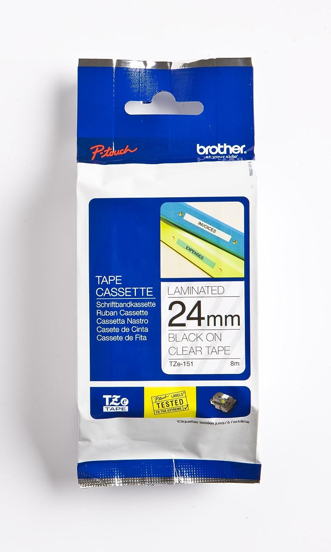 Schriftband für Brother P-Touch TZE-S151 8m//24mm Schwarz auf Transparent