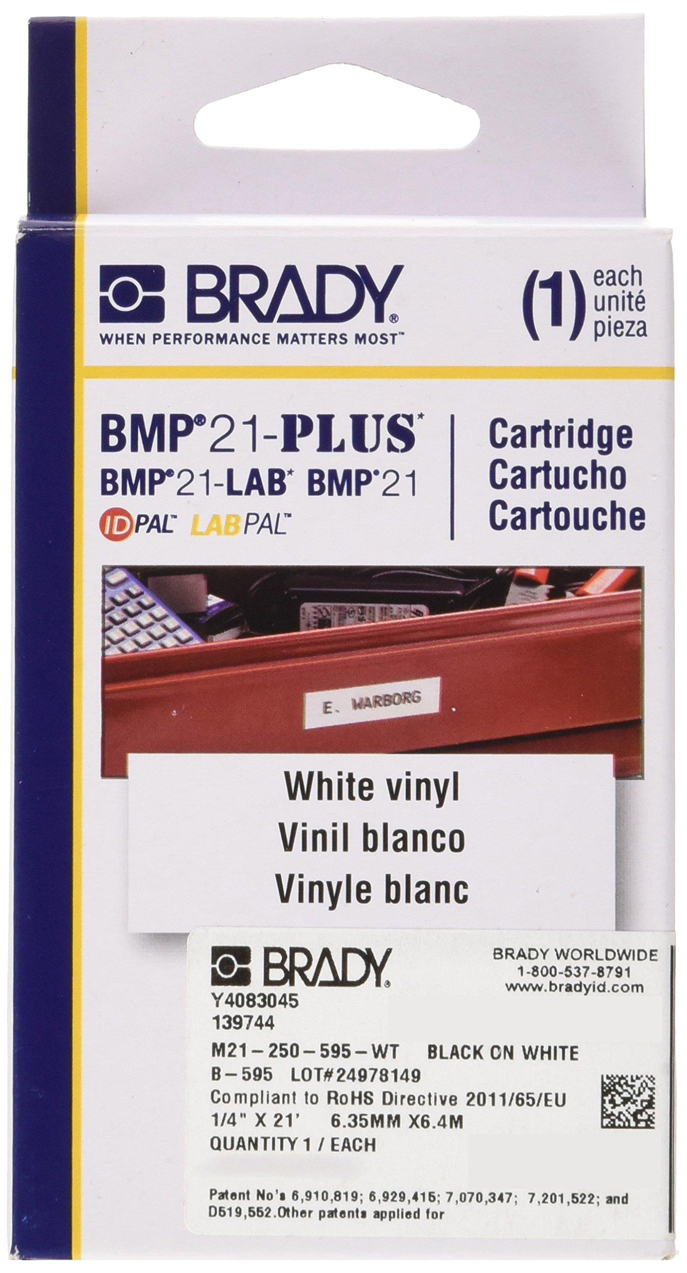 Brady M21-250-595-WT Cartridge, B595 Vinyl Indoor/Outdoor Material, 0.25'' W x 21' L, Black on White