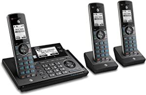 AT&T CLP99387 DECT 6.0 Expandable Cordless Phone with Bluetooth Connect to Cell, Smart Call Blocker and Answering System, Metallic Blue with 3 Handsets