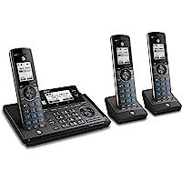 AT&T CLP99387 Teléfono DECT 6.0 expandible inalámbrico con conexión Bluetooth a la celda, Bloqueador de Llamadas Inteligentes y Sistema de Respuesta, Azul metálico con 3 Auriculares