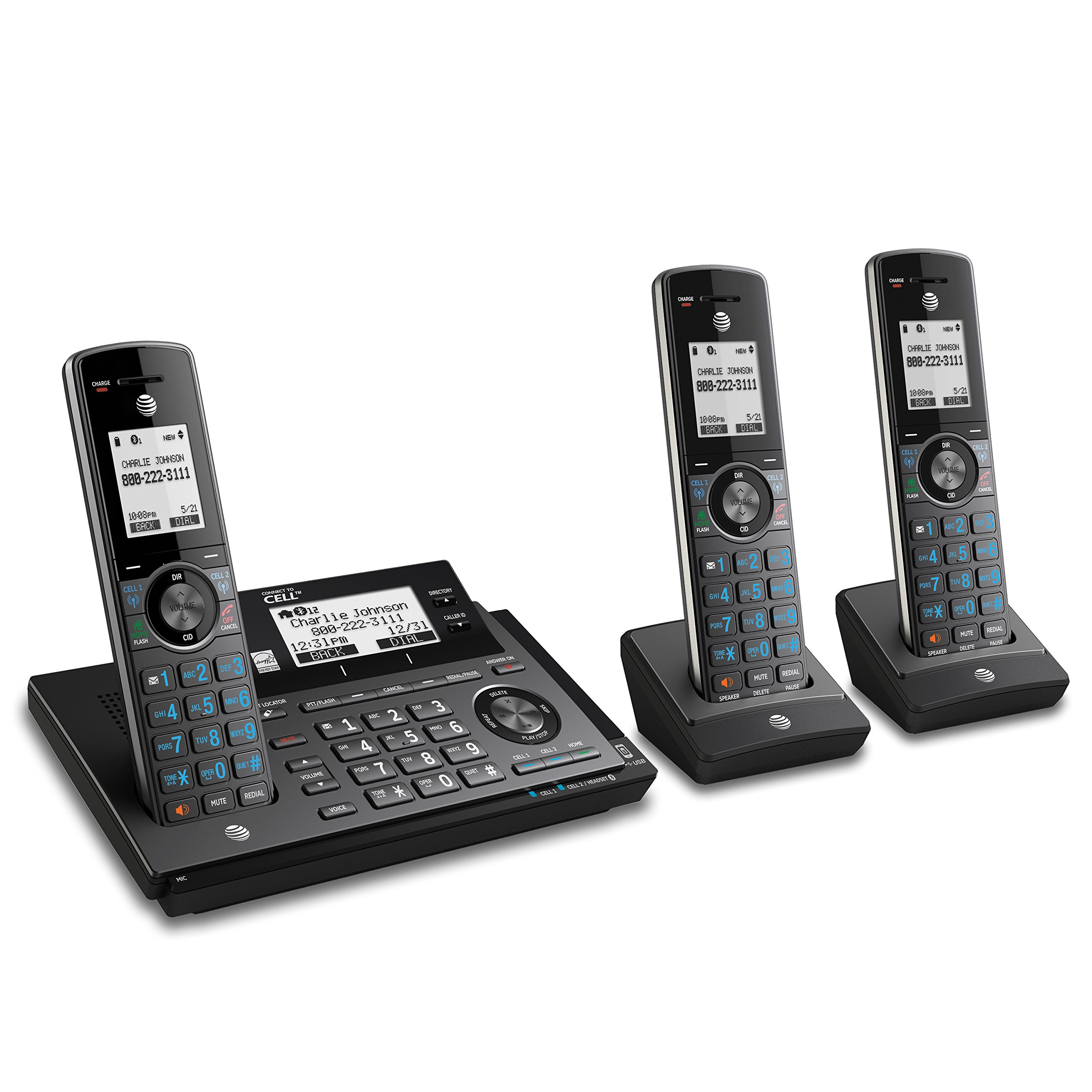 AT&T CLP99387 DECT 6.0 Expandable Cordless Phone with Bluetooth Connect to Cell, Smart Call Blocker and Answering System, Metallic Blue with 3 Handsets by AT&T
