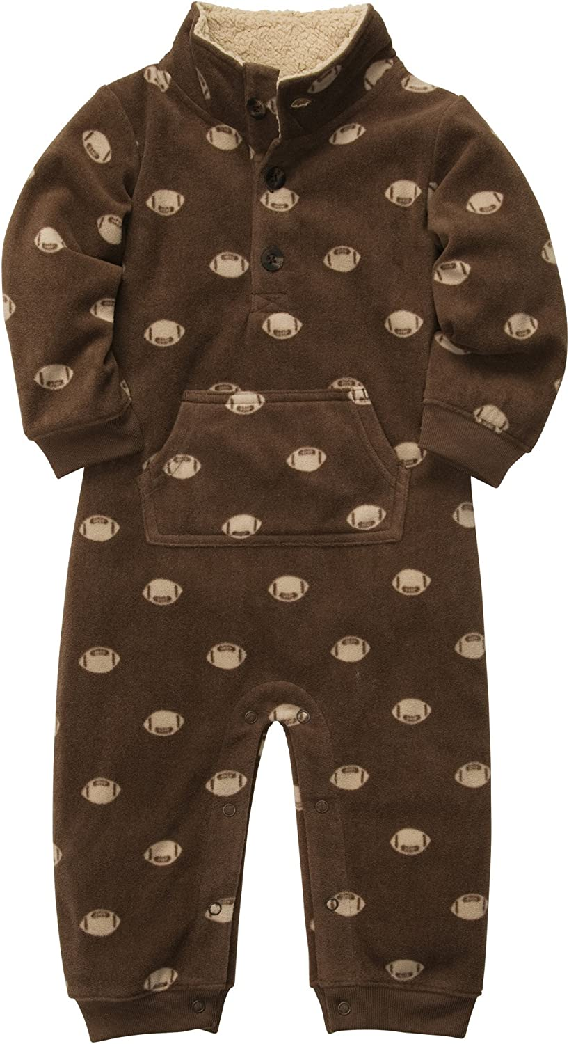 9 months Carters Boys Football Microfleece 1 Pc Coveralls Jumpsuit Brown