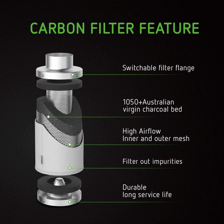VIVOSUN 6 Inch Air Carbon Filter Odor Control with Australia Virgin Charcoal for