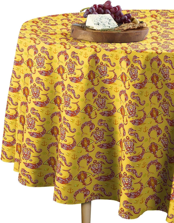 Fabric Textile Products Round Tablecloth 100 Milliken Polyester Machine Washable 60 Round Designer Marine Life Home Kitchen