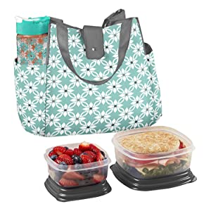Fit & Fresh Women's Westport Insulated Lunch Bag with Matching Reusable Container Set, Ice Pack and 20-ounce Tritan Water Bottle, Aqua Dogwood - 989FF721