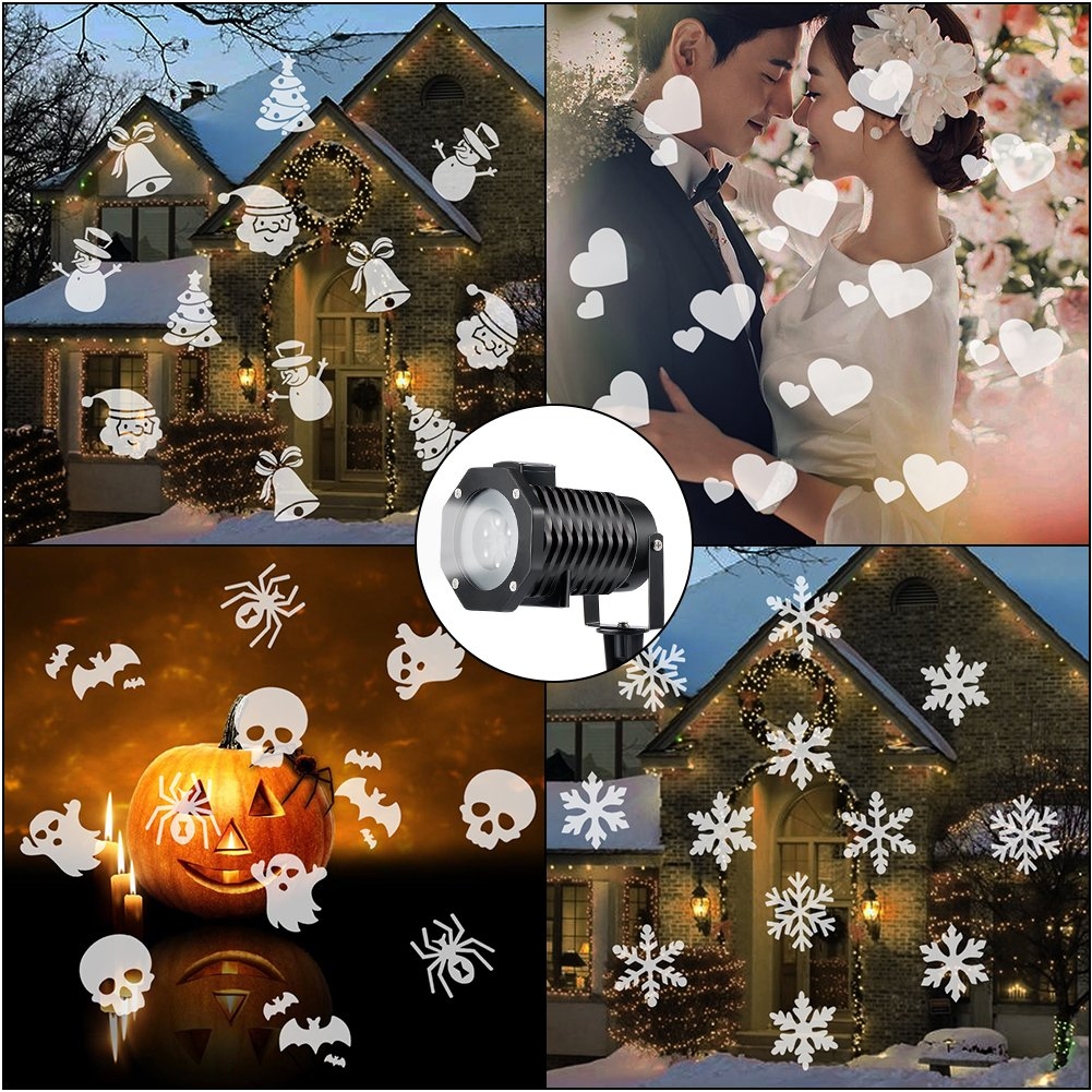 Ucharge Led Christmas Light Projector, Indoor Outdoor Snowflake Spotlight Rotating Night Light Projector, 10 Slides Dynamic Lighting Landscape Led Projector Light Show Party, Holiday Decoration, White