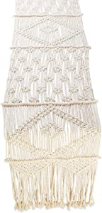 Folkulture Macrame Table Runner for Farmhouse or Wedding Table Decor, Boho Table Runners for Dining Room, Vintage Rustic Bohemian Style Home Decor, 13 x 48 Inches Long, 100% Cotton