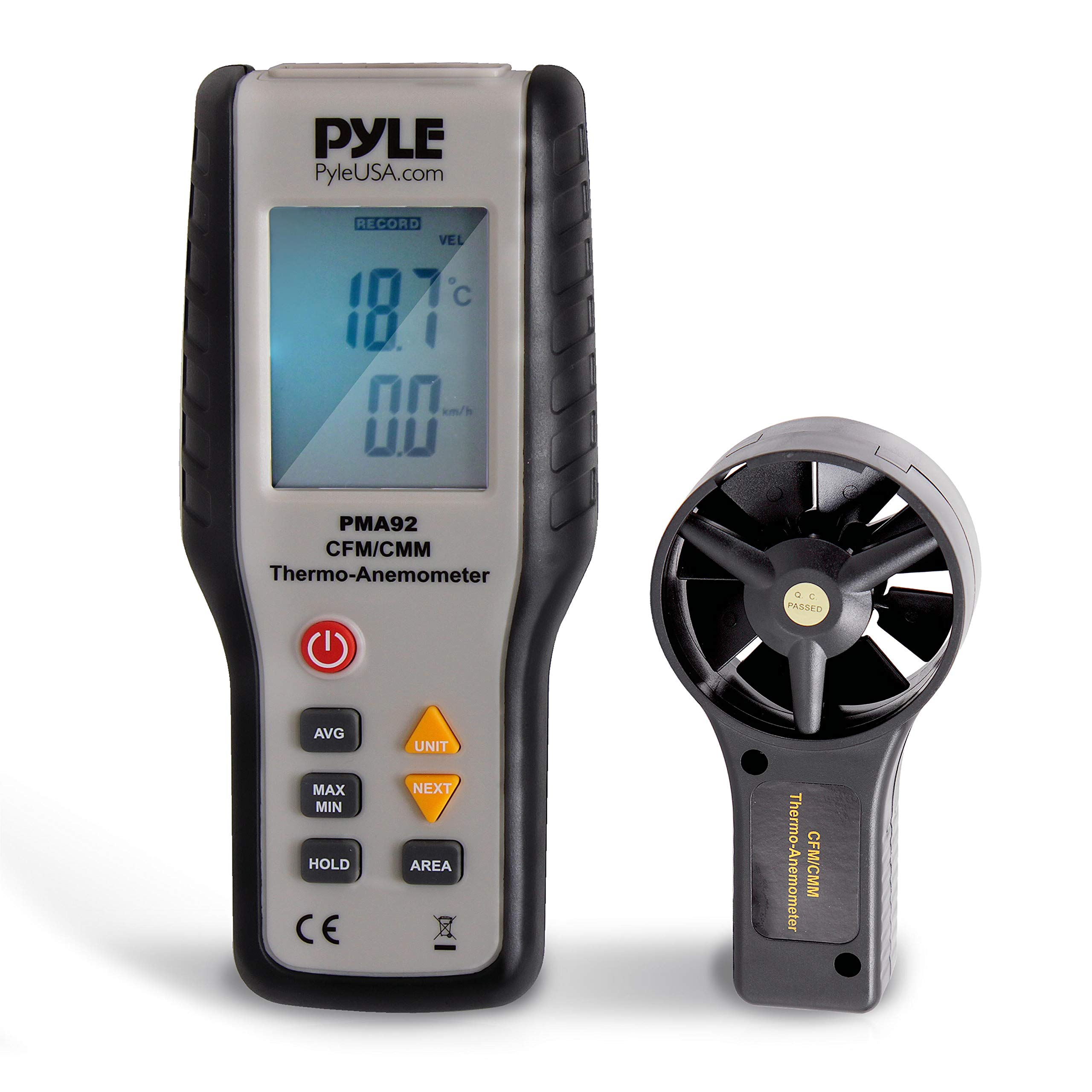 Digital Wind Speed Anemometer Handheld - Portable Air Flow Meter CFM Thermometer Measurement Gauge Tool Kit w/ LCD, Backlight for Kite Flying, Surfing, Fishing, Sailing, Weather Station - Pyle PMA92