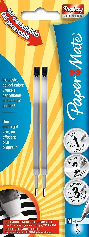 Paper Mate Replay Premium Refills Per Penne Gel Cancellabili, Punta Media da 0,7 mm, Viola, Confezione da 2 Newell Rubbermaid 1958461