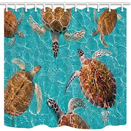 HiSoho Marine Life Sea Animals Turtle Shower Curtains For Bathroom Maya Turtles In Turquoise Waters