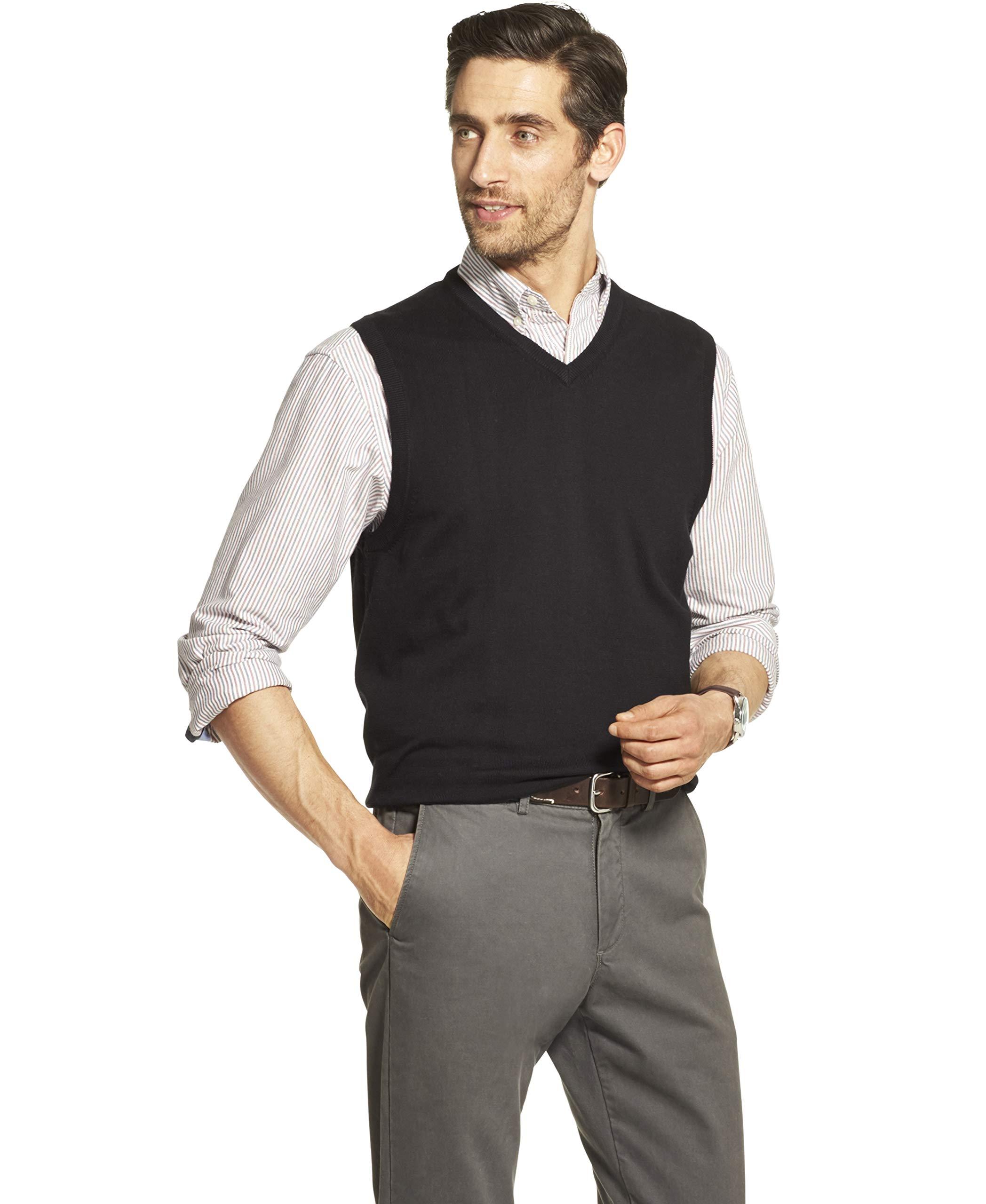IZOD Men's Premium Essentials Solid V-Neck 12 Gauge Sweater Vest, BLACK, XX-Large by IZOD