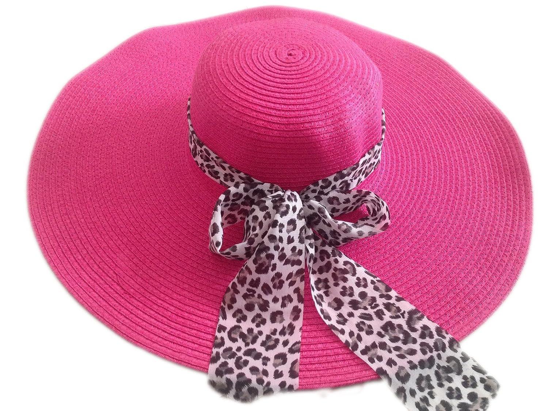 JTC Women Wide Large Brim Straw Beach Sun Floppy Hat White Leopard Bow Rose